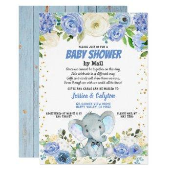 Boy Baby Shower By Mail Blue Elephant Rose Flower Invitation
