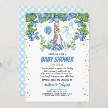 Boy Baby Shower By Mail Bunny Rabbit Blue Invitation