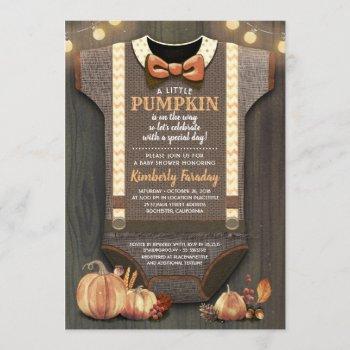 Boy Baby Shower Fall Pumpkin Rustic Burlap Wood Invitation