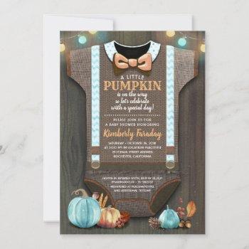 Boy Baby Shower Fall Pumpkin Rustic Burlap Wood