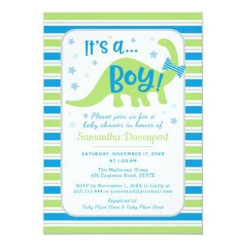 Boy Baby Shower Green Dinosaur Colorful Invitation