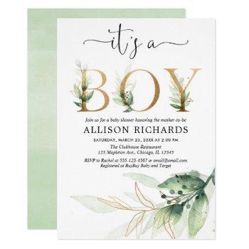 Boy Baby Shower Greenery Gold Leaves Modern Invitation