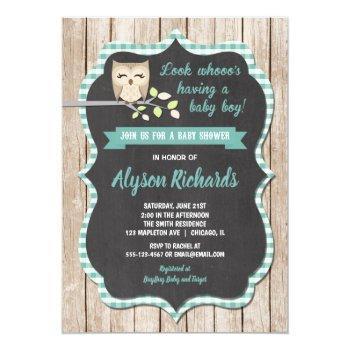 Boy Baby Shower Invitation, Owl Baby Shower Invitation