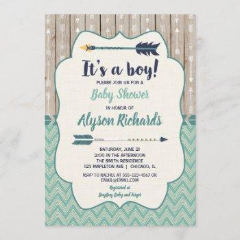 Boy Baby Shower Invitations, Tribal Arrow Teal Invitation