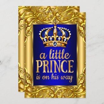 Boy Baby Shower Royal Prince Blue Gold Invitation