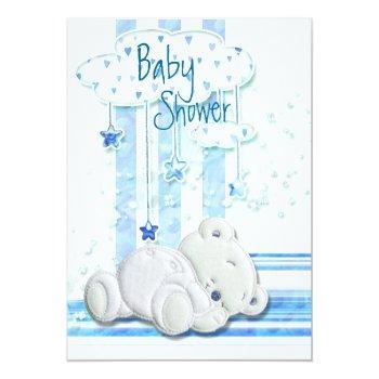 Boy Baby Shower Teddy Bear Blue Invitation
