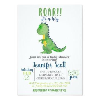 Boy Baby Shower Watercolor Dinosaur Invitation