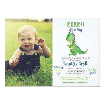 Boy Baby Shower Watercolor Dinosaur Photo Invite