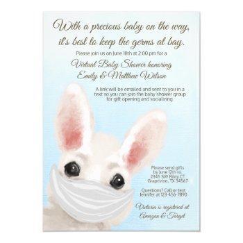 Boy Bunny Rabbit Mask Online Drive By Baby Shower Invitation