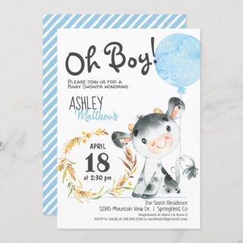 Boy Cow Baby Shower Farm Invitation