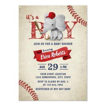 Boy Cute Elephant Baseball Baby Shower Invitation