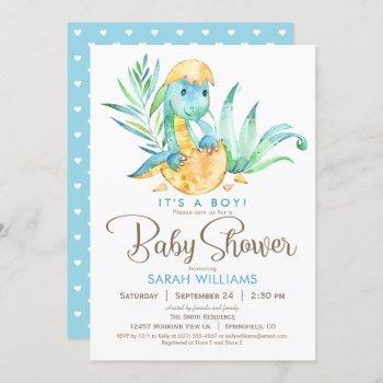 Boy Dinosaur Baby Shower Invitation