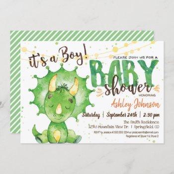 Boy Dinosuar Baby Shower Invitation