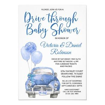 Boy Drive Through Baby Shower Car Invitation