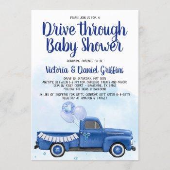 Boy Drive Through Covid Baby Shower Truck Invitation