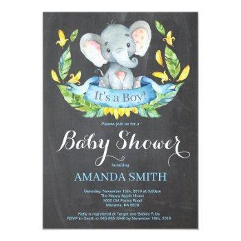 Boy Elephant Baby Shower Invitation Chalkboard