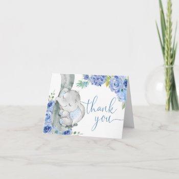 Boy Elephant Blue Floral Watercolor Little Peanut Thank You Card