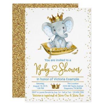 Boy Elephant Prince Baby Shower Invitation