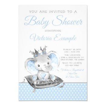 Boy Elephant Prince Elephant Baby Shower Invitation