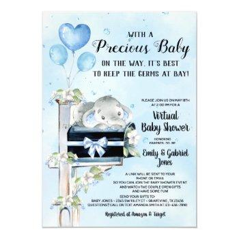 Boy Elephant Virtual Baby Shower By Mail Invitation