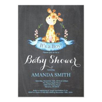 Boy Giraffe Baby Shower Invitation Chalkboard