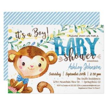 Boy Monkey Baby Shower Invitation