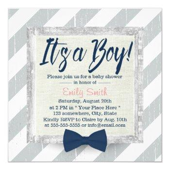 Boy Navy Blue Bow Tie Grey Stripes Baby Shower Invitation