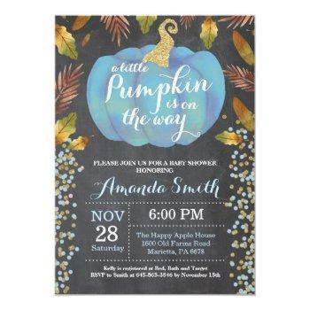 Boy Pumpkin Fall Baby Shower Gold Glitter Invitation