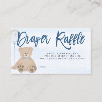 Boy Teddy Bear Blue Balloon Diaper Raffle Ticket Enclosure Card