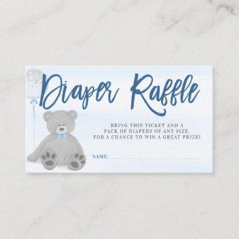 Boy Teddy Bear Gray Balloon Diaper Raffle Ticket Enclosure Card