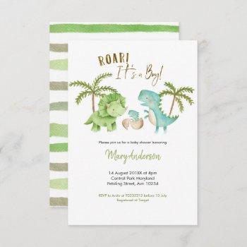 Boy Tropical Dinosaur Baby Shower Invite Roar