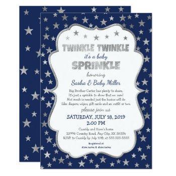 Boy Twinkle Baby Sprinkle, Navy Silver Invitations