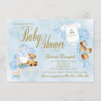 Boy Watercolor Baby Blue Gold Baby Shower Invitation