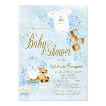 Boy Watercolor Baby Shower Blue Gold Baby Invitation