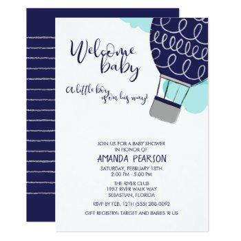 Boy Welcome Baby Hot Air Balloon Baby Shower Invitation