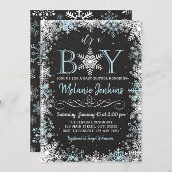 Boy Winter Snowflake Baby Shower Invitation