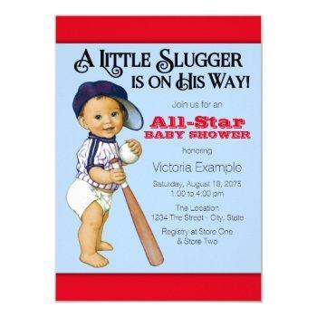 Boys Baseball Baby Shower Invitation