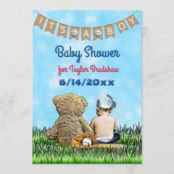 Boy's Baseball Themed Baby Shower Invitation