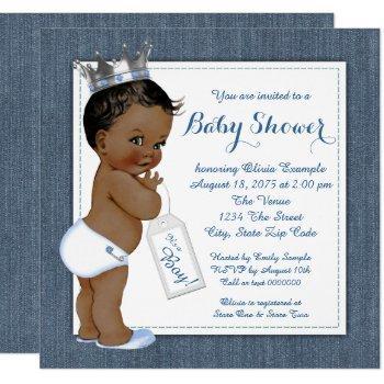Boys Blue Denim African American Baby Shower Invitation