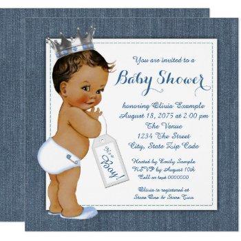 Boys Blue Denim Ethnic Baby Shower Invitation