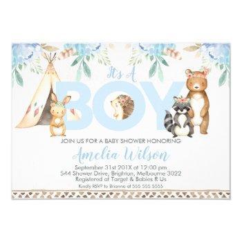 Boys Boho Woodland Baby Shower Invitation