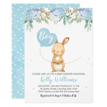 Boys Bunny Baby Shower Invitation