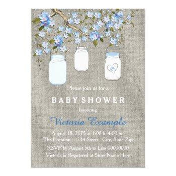 Boys Burlap Baby Shower Invitation