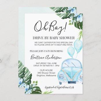 Boy's Drive By Parade Baby Baby Shower Invitation