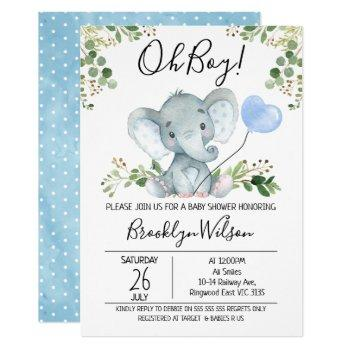 Boy's Elephant Watercolor Baby Shower Invitation
