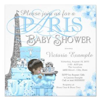 Boys Paris Baby Shower Invitations