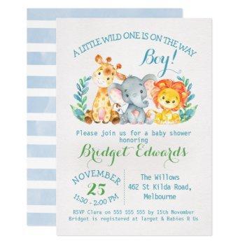 Boy's Safari Animals Baby Shower Invitation