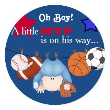 Boys Sports Baby Shower Invitation