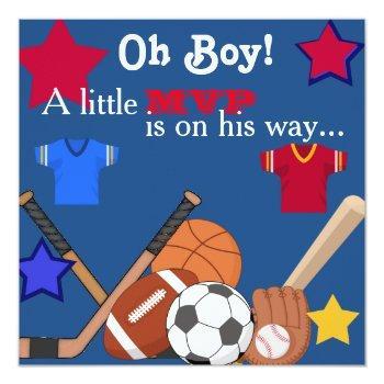 Boys Sports Baby Shower Invitation Hockey