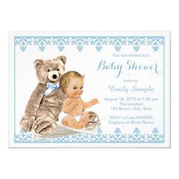 Boys Teddy Bear Baby Shower Invitation